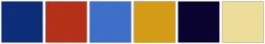 Color Scheme with #0E2E78 #B53119 #3E6FC9 #D49B17 #0A0330 #EDDD9A
