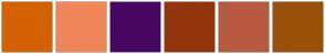 Color Scheme with #D46204 #F08659 #480763 #94350C #B85A42 #995109