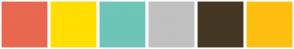 Color Scheme with #E86850 #FFDE00 #6EC5B8 #C0C0C0 #453823 #FEBF10
