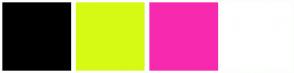 Color Scheme with #000000 #D7FA14 #F72AAF #FFFFFF
