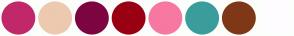 Color Scheme with #C12869 #EDC9AF #7D0541 #990012 #F778A1 #3B9C9C #7E3817 #FEFCFF