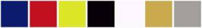 Color Scheme with #0C1B6E #C21021 #DCE627 #070008 #FCF7FC #C9AA4D #A19E9C
