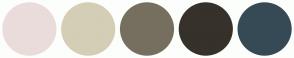 Color Scheme with #EBDCDC #D4CEB6 #766F5F #36312A #364A55