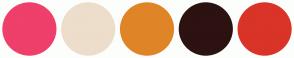 Color Scheme with #EF3F6B #EDDDCB #DF8527 #2C1210 #D93427