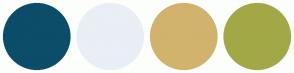 Color Scheme with #0C4D69 #E9EFF5 #D1B36D #A3A847