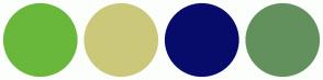 Color Scheme with #69B83B #CCC87A #070C6B #63915D