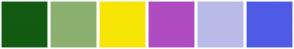 Color Scheme with #135A12 #8BB070 #F7E605 #B04CC1 #B9BBE8 #505BE5