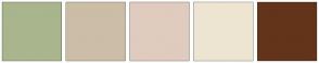 Color Scheme with #A9B58D #CCBDA7 #E0CBBF #EDE5D1 #63341A