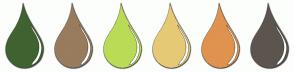 Color Scheme with #3F6330 #997B5D #BADB56 #E6C975 #E0924F #5C554E