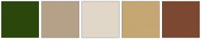 Color Scheme with #2C470B #B5A188 #E0D7C8 #C4A772 #7D4831