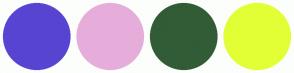 Color Scheme with #5745D2 #E6ADDB #315C36 #E2FF35