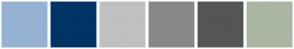 Color Scheme with #96B3D3 #003366 #C0C0C0 #888888 #555555 #AAB6A2