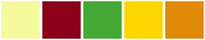 Color Scheme with #F6FA9C #8C001A #44A932 #FFD700 #E18A07