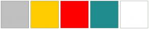 Color Scheme with #C0C0C0 #FFCC00 #FF0000 #218C8D #FFFFFF