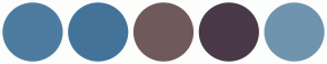 Color Scheme with #4E7CA0 #447399 #6F5A5B #4A3949 #7094AE