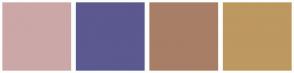 Color Scheme with #CCA7A7 #5B598F #A87E67 #BD9860