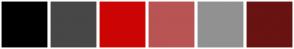 Color Scheme with #000000 #474747 #CC0404 #B85454 #919191 #691313