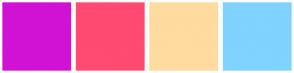 Color Scheme with #D112D4 #FF4A72 #FFDBA0 #80D2FF