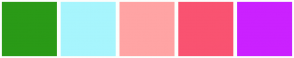 Color Scheme with #2A9A17 #A7F5FD #FFA4A4 #F95371 #CB21FF