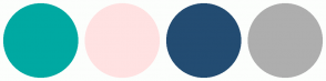 Color Scheme with #00A9A2 #FFE2E2 #234C72 #AEAEAE