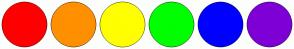 Color Scheme with #FF0000 #FF9000 #FFFF00 #00FF00 #0000FF #7E00D6