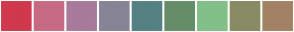 Color Scheme with #D0394D #C76B84 #A97B9B #878498 #558183 #658E68 #83BF88 #888B63 #A38165