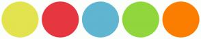 Color Scheme with #E3E34F #E63740 #60B5D1 #91D63C #FC7E00