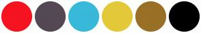 Color Scheme with #F5141F #544854 #38B9D9 #E3C939 #997025 #000000