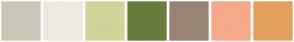 Color Scheme with #C9C6B7 #EDE9E1 #D0D499 #697D3C #998576 #F5A989 #E3A05D