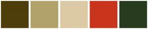 Color Scheme with #4E3E0B #B1A26B #DCCAA4 #C9341C #283B1F