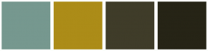 Color Scheme with #76988F #AC8C18 #3F3C29 #262416