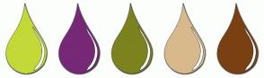 Color Scheme with #C3D938 #772877 #7C821E #D8B98B #7A4012