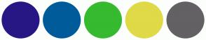 Color Scheme with #271785 #005B9A #36BA2F #E0D948 #636163
