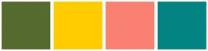 Color Scheme with #556B2F #FFCC00 #FA8072 #028482