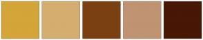 Color Scheme with #D4A539 #D5AD6F #7A4012 #C09372 #481706