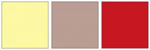Color Scheme with #FCF8A4 #BA9D93 #C71821