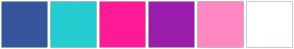 Color Scheme with #36569C #25CCD1 #FF1A97 #9A1DAB #FE88C3 #FFFFFF