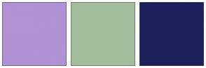 Color Scheme with #B092D5 #A1BD9C #1D225C