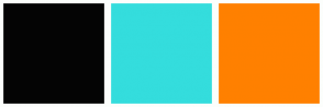 Color Scheme with #040404 #34DDDD #FF8000