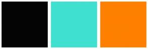 Color Scheme with #040404 #40E0D0 #FF8000