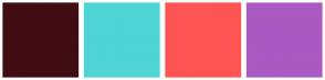 Color Scheme with #400D12 #4FD5D6 #FF5454 #AA5AC2