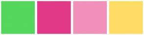 Color Scheme with #55D65C #E13987 #F191BA #FEDC65