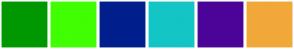 Color Scheme with #009800 #40FF00 #001F8D #14C5C5 #4B0497 #F1A839