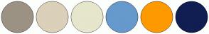 Color Scheme with #9C9284 #DBD0B9 #E6E6CC #6699CC #FF9900 #101E52