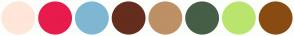 Color Scheme with #FFE6D9 #E81B4D #7FB7D2 #652D1D #BD9065 #455E46 #B9E56E #894B12