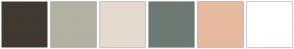 Color Scheme with #3F3931 #B2B2A2 #E5DACE #6D7973 #E7BAA0 #FFFFFF