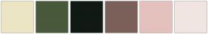 Color Scheme with #ECE5C3 #49593B #101913 #7B605A #E5C1BD #F1E5E1