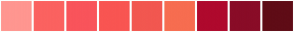 Color Scheme with #FF9690 #FB6260 #F9545B #F95552 #F25750 #F76D50 #AF092D #890C27 #5F0C16