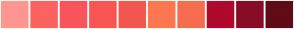Color Scheme with #FF9690 #FB6260 #F9545B #F95552 #F25750 #FF7751 #F76D50 #AF092D #890C27 #5F0C16