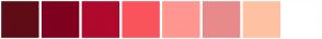 Color Scheme with #5F0C16 #800020 #AF092D #F9545B #FF9690 #E88A8A #FEC2A3 #FFFFFF